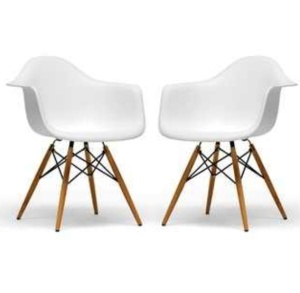 Retro-Classic White Accent Chairs (set of 2) $166.99 @ Overstock.com